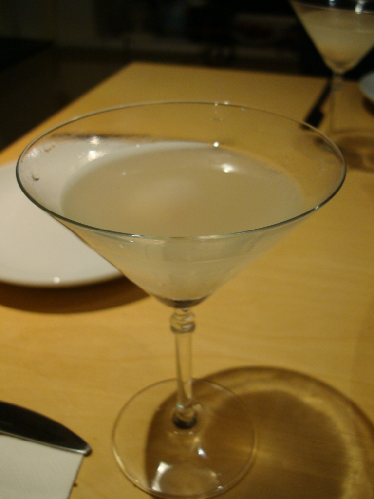A (slightly sipped) lychee martini