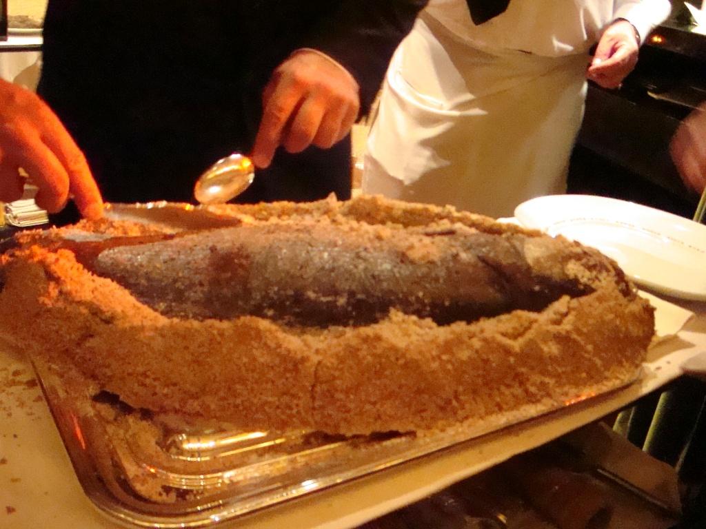 Salt-roasted bass